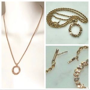 Vintage 14K Gold Nuggets w/Diamonds Rope Chain